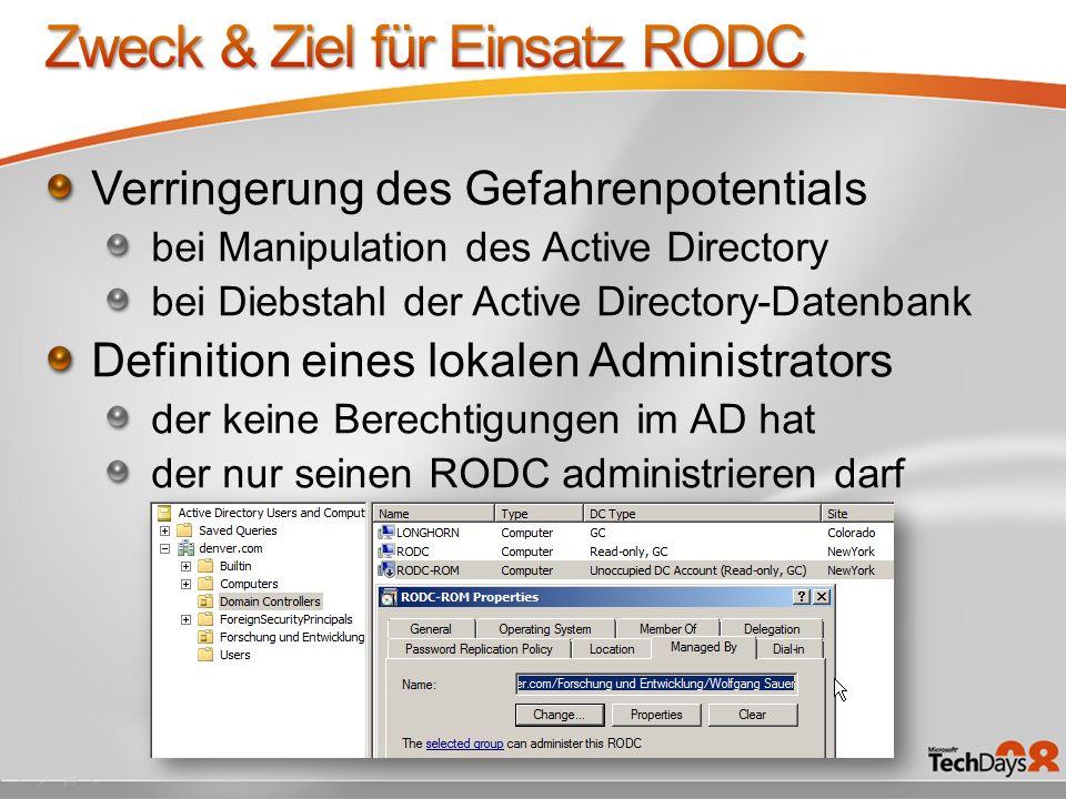 Zweck & Ziel für Einsatz RODC