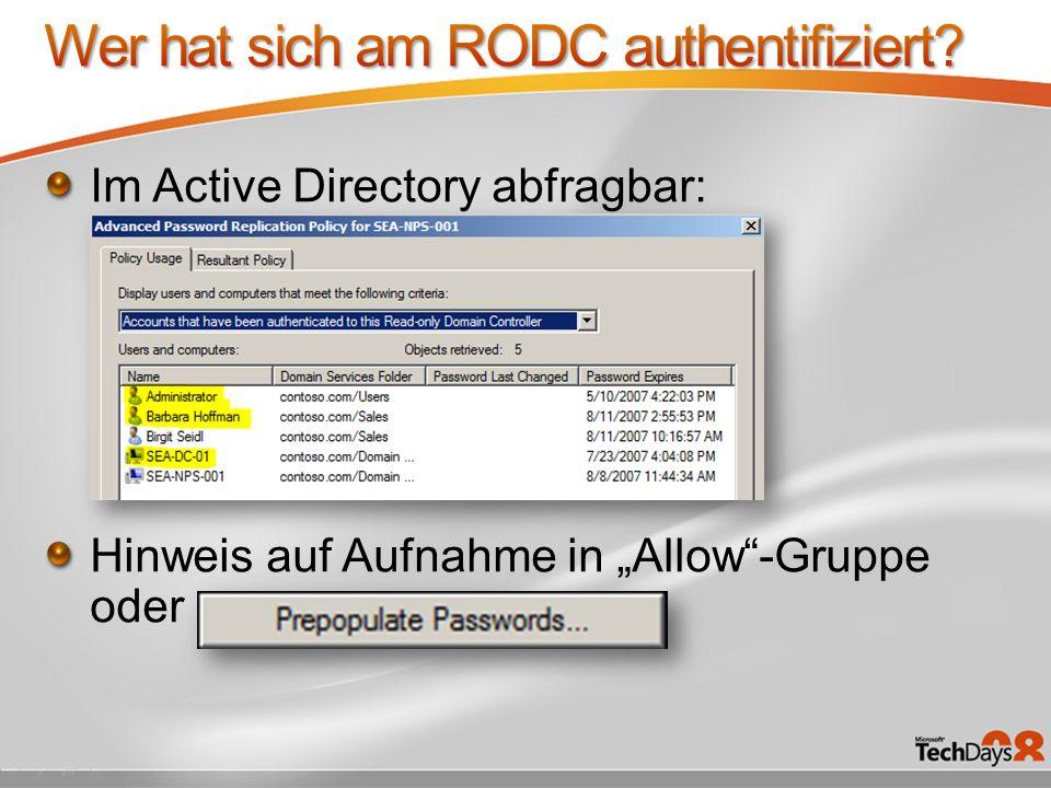 Wer hat sich am RODC authentifiziert