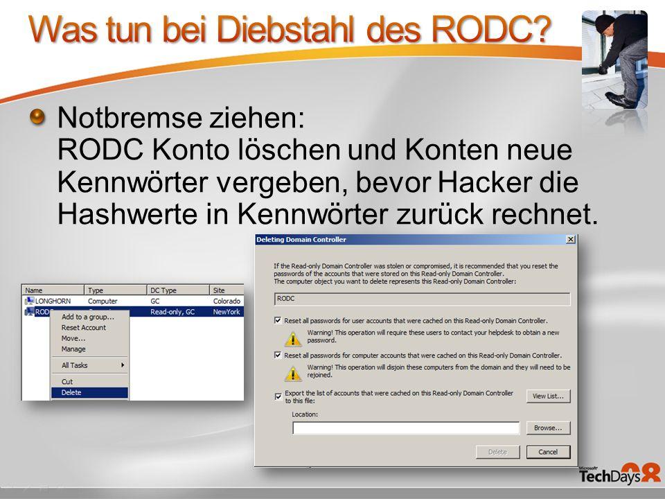 Was tun bei Diebstahl des RODC
