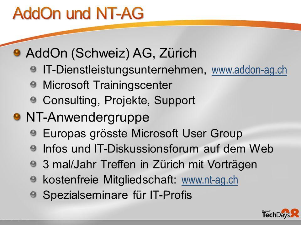 AddOn und NT-AG AddOn (Schweiz) AG, Zürich NT-Anwendergruppe