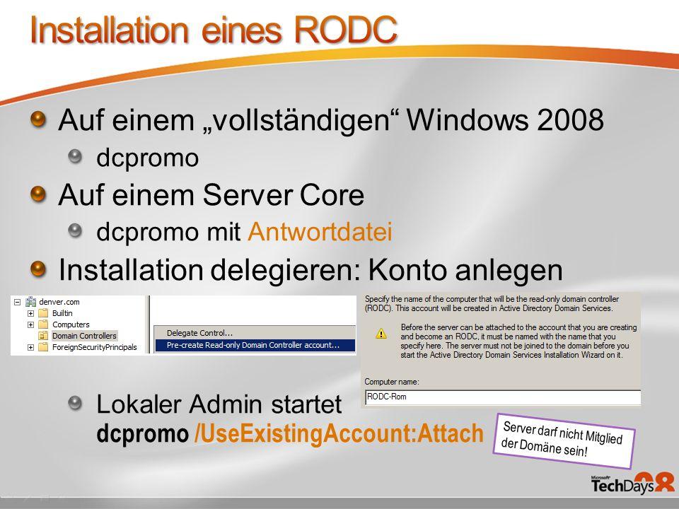 Installation eines RODC
