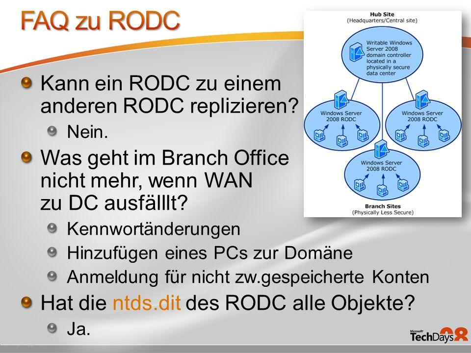 FAQ zu RODC Kann ein RODC zu einem anderen RODC replizieren