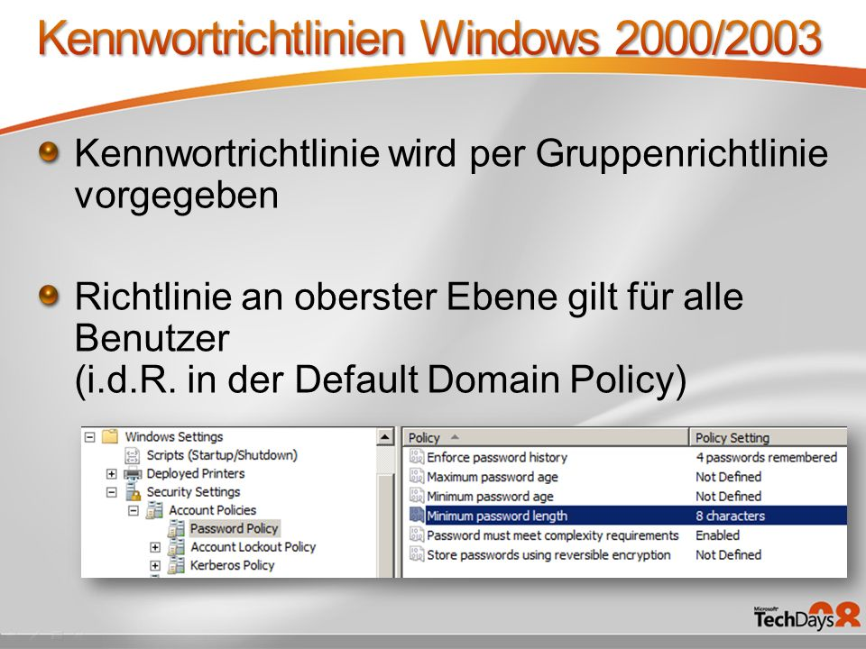 Kennwortrichtlinien Windows 2000/2003