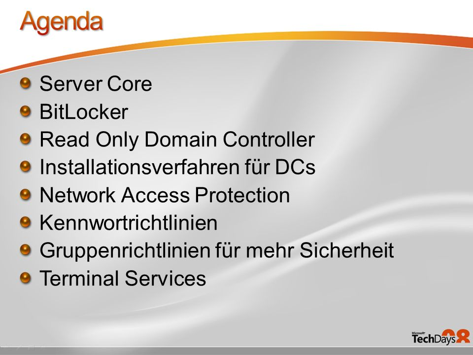 Agenda Server Core BitLocker Read Only Domain Controller