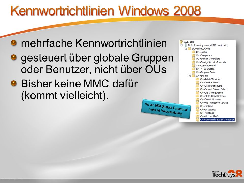 Kennwortrichtlinien Windows 2008