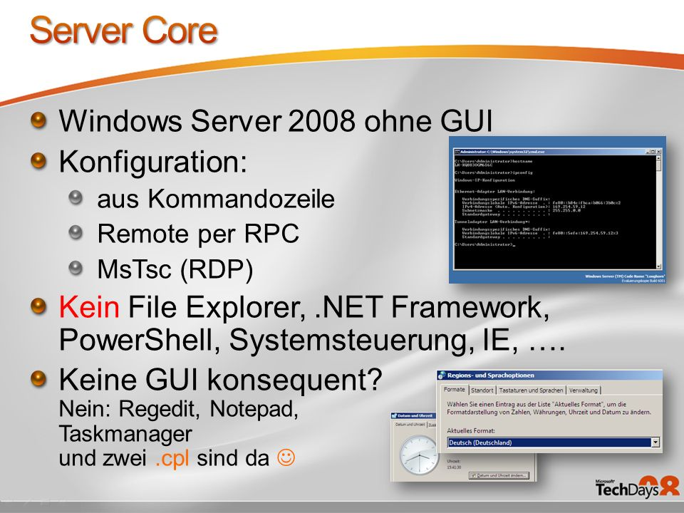 Server Core Windows Server 2008 ohne GUI Konfiguration: