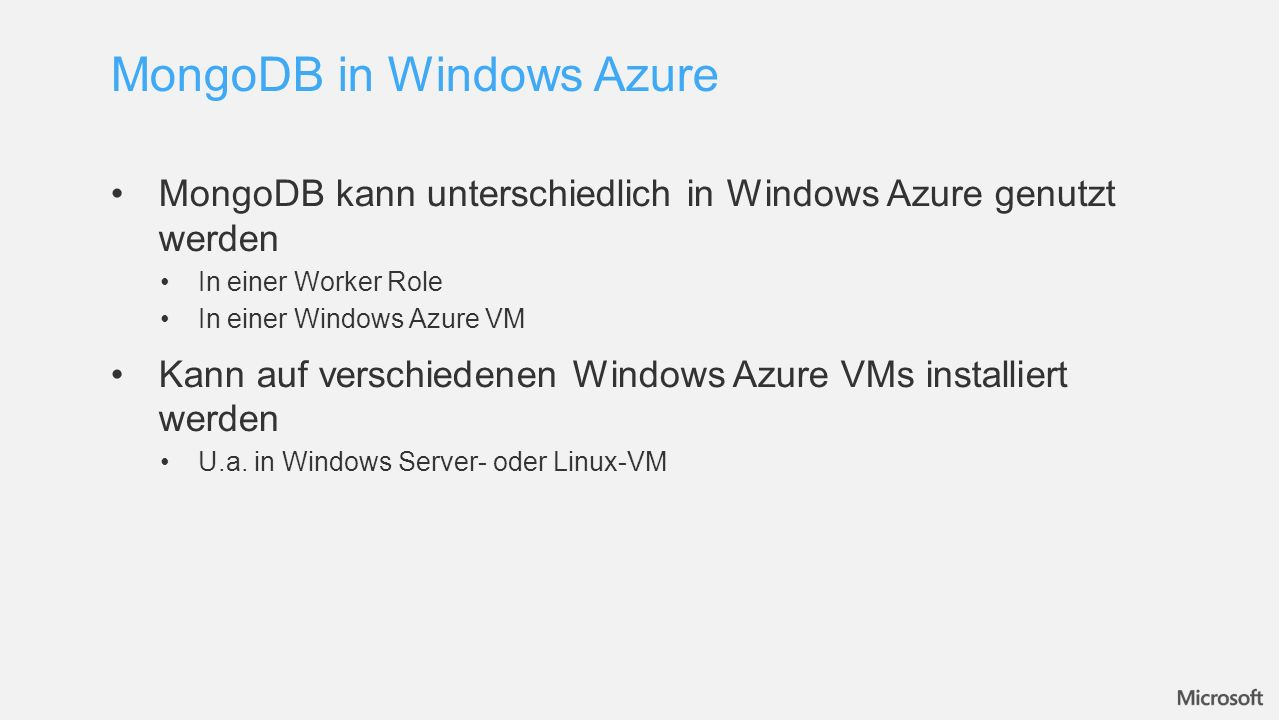 MongoDB in Windows Azure