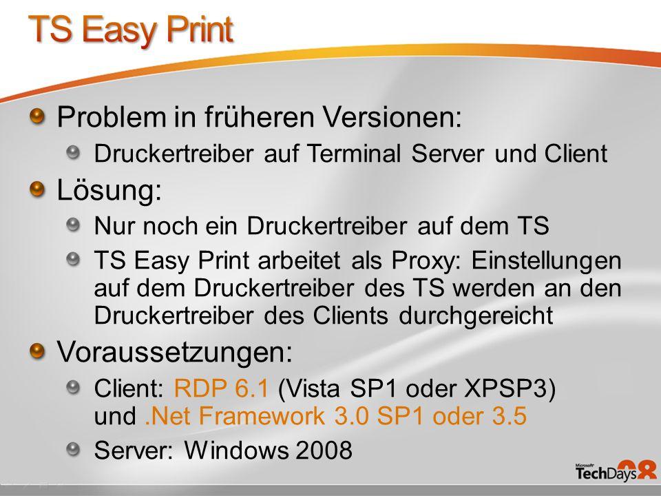 TS Easy Print Problem in früheren Versionen: Lösung: Voraussetzungen:
