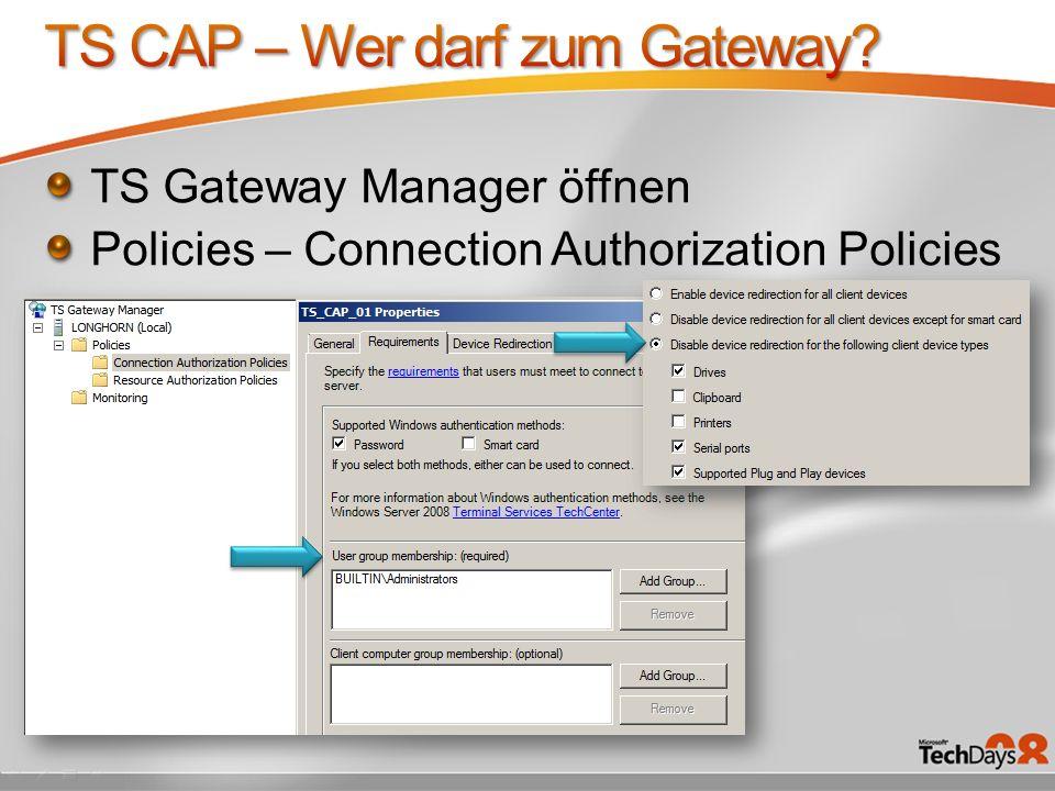 TS CAP – Wer darf zum Gateway