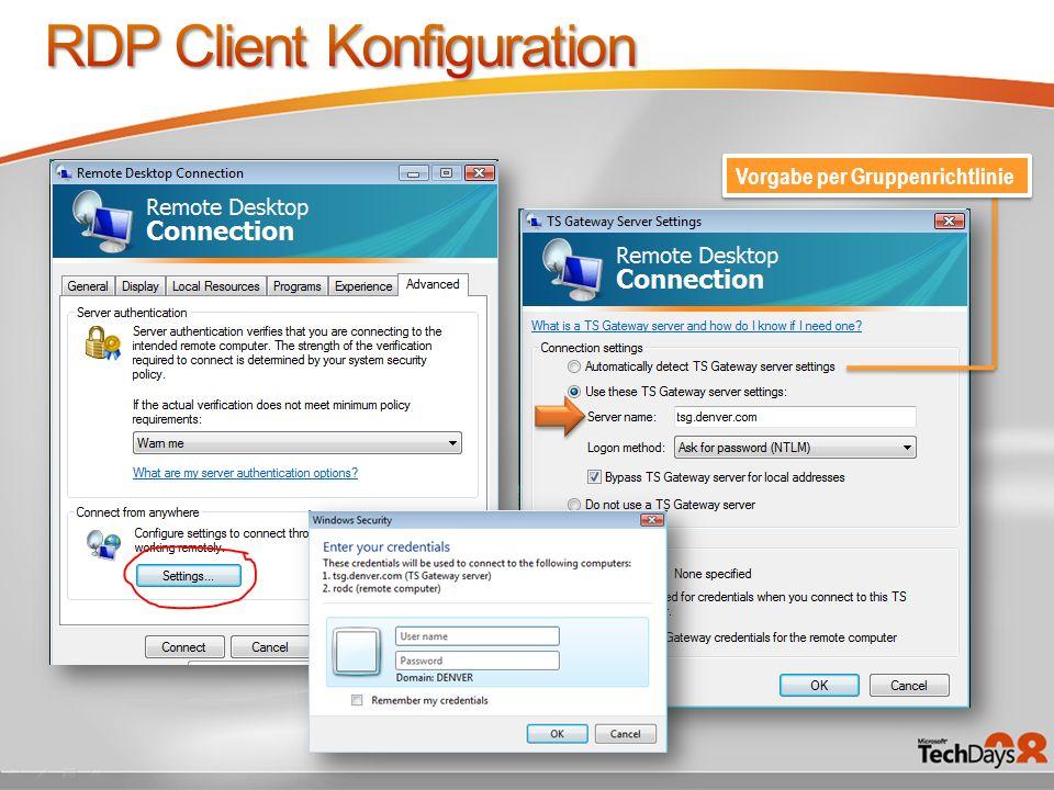 RDP Client Konfiguration