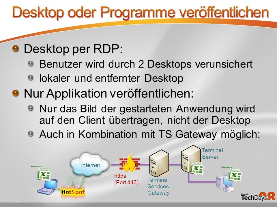 Desktop oder Programme veröffentlichen