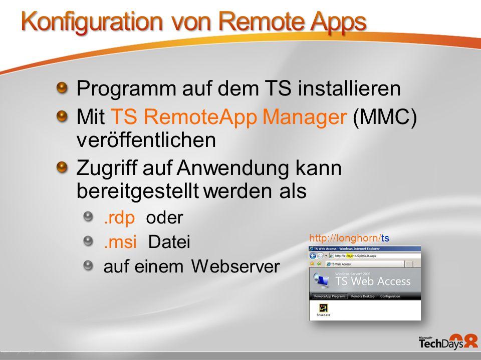 Konfiguration von Remote Apps