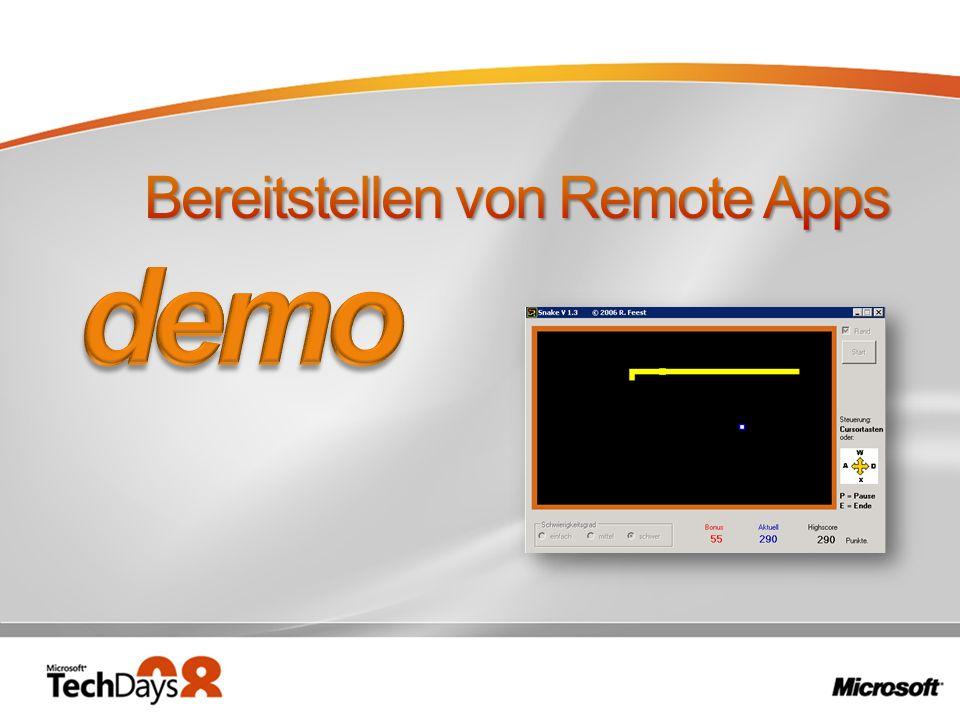 Bereitstellen von Remote Apps