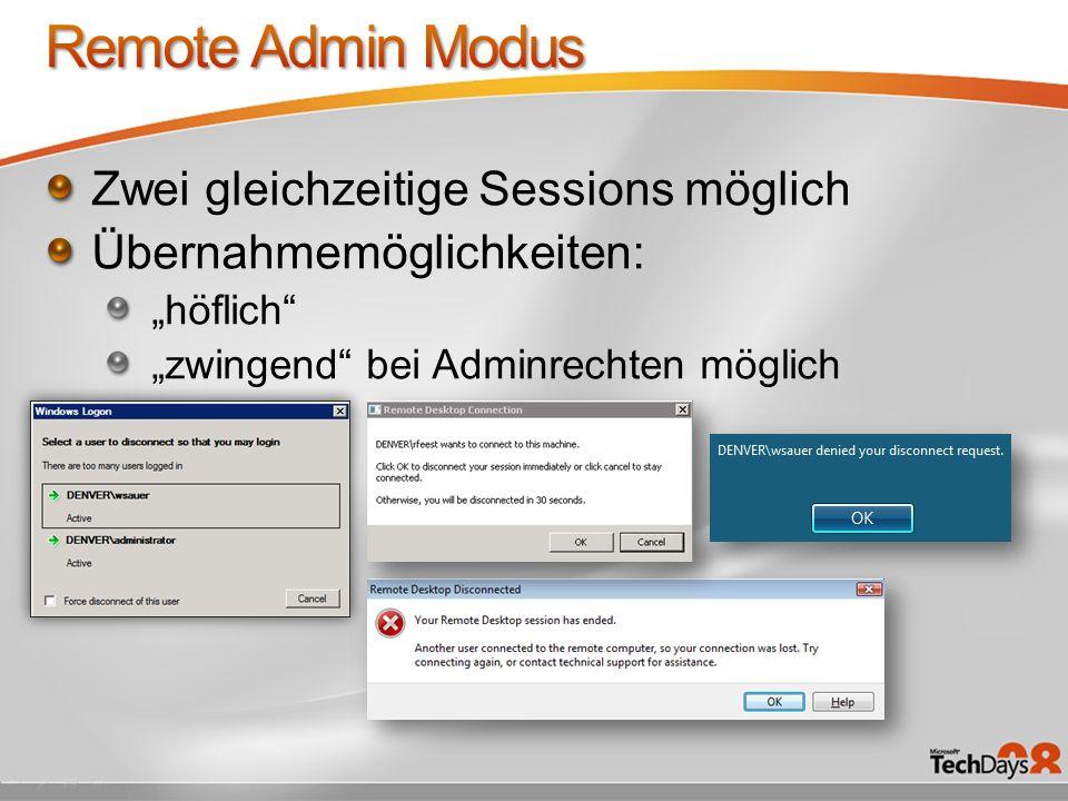 Remote Admin Modus Zwei gleichzeitige Sessions möglich