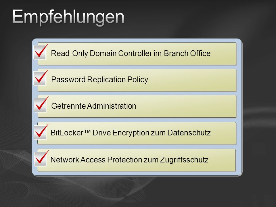 Empfehlungen Read-Only Domain Controller im Branch Office