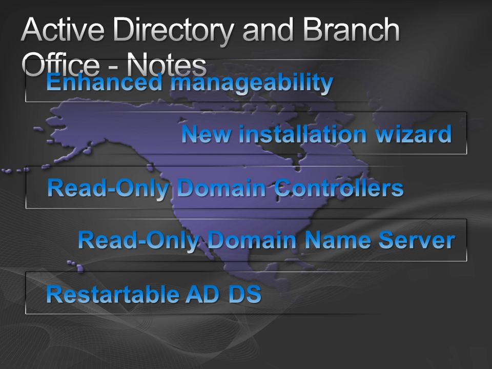 Active Directory and Branch Office - Notes