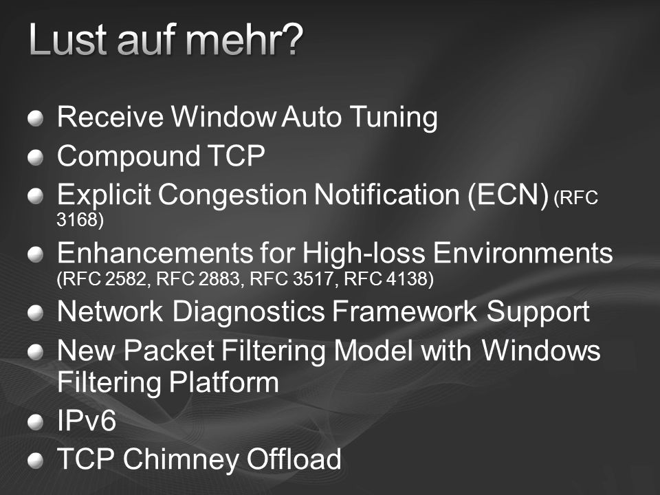 Lust auf mehr Receive Window Auto Tuning Compound TCP