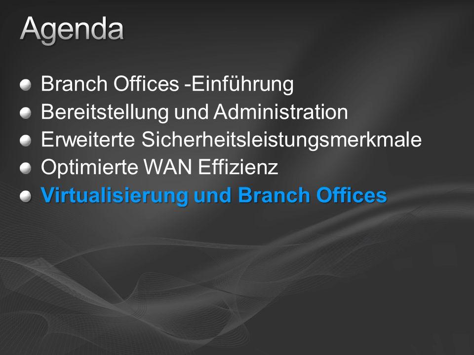 Agenda Branch Offices -Einführung Bereitstellung und Administration
