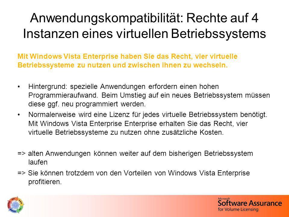 Anwendungskompatibilität: Rechte auf 4 Instanzen eines virtuellen Betriebssystems