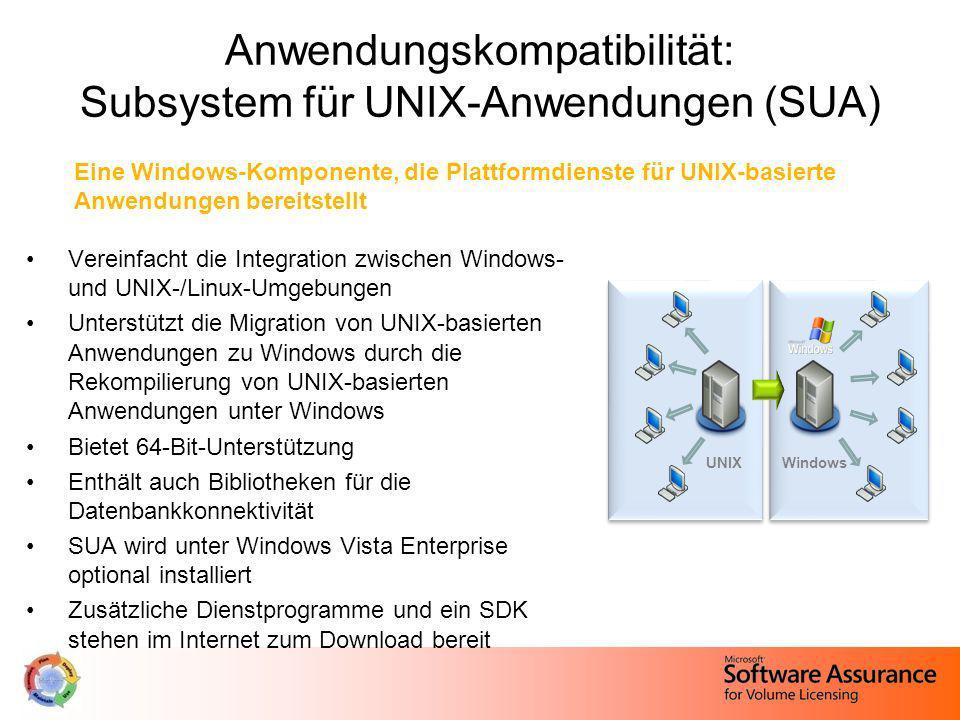 Anwendungskompatibilität: Subsystem für UNIX-Anwendungen (SUA)