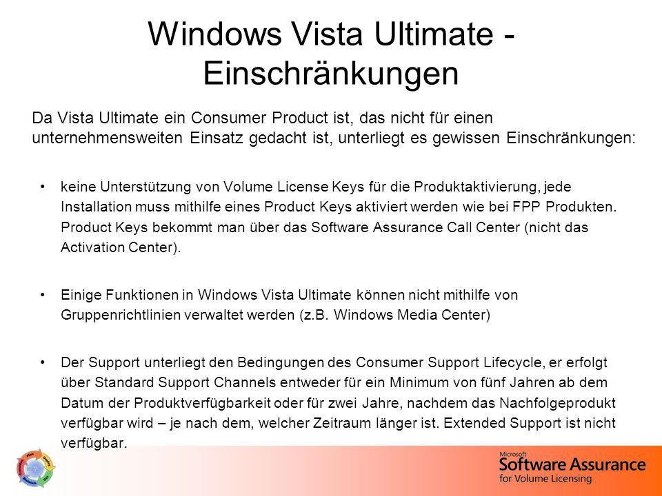 Windows Vista Ultimate - Einschränkungen