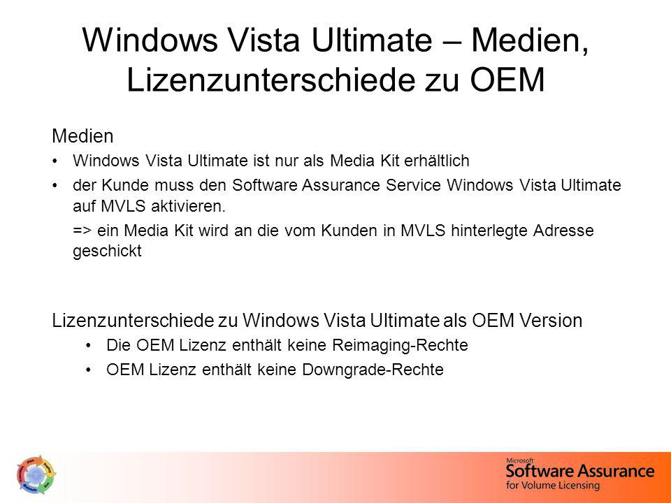 Windows Vista Ultimate – Medien, Lizenzunterschiede zu OEM