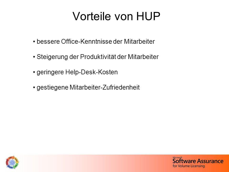 Vorteile von HUP bessere Office-Kenntnisse der Mitarbeiter
