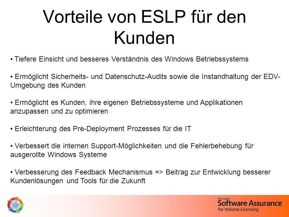 Vorteile von ESLP für den Kunden