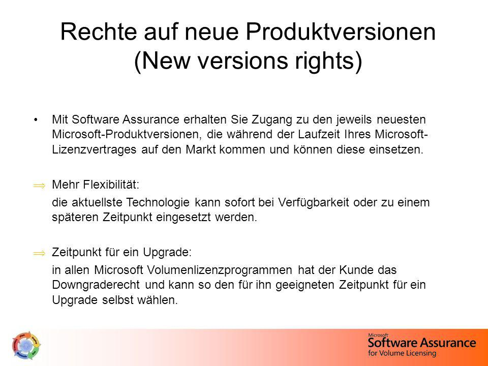 Rechte auf neue Produktversionen (New versions rights)