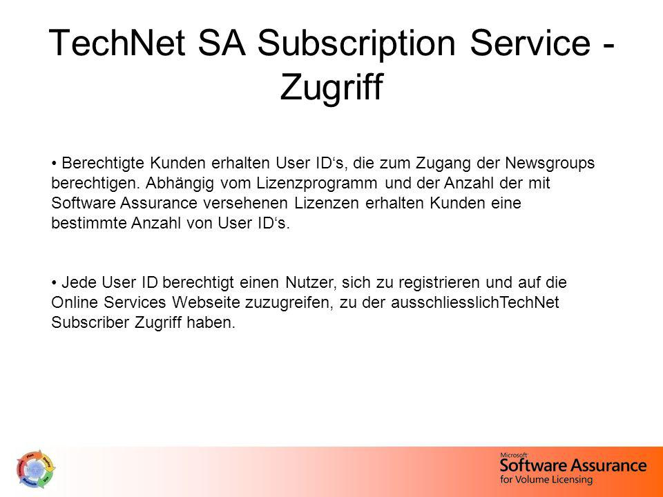 TechNet SA Subscription Service - Zugriff