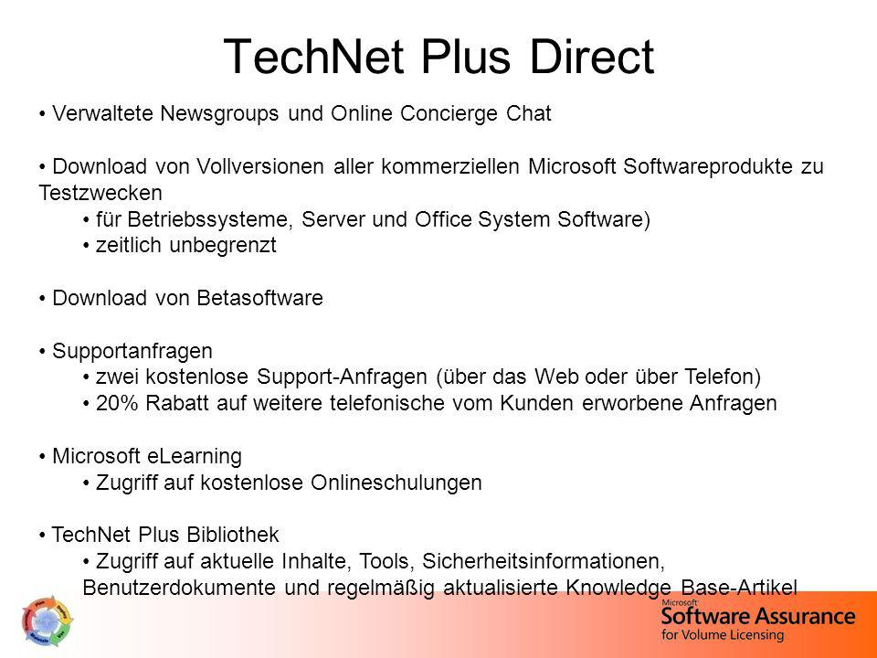 TechNet Plus Direct Verwaltete Newsgroups und Online Concierge Chat