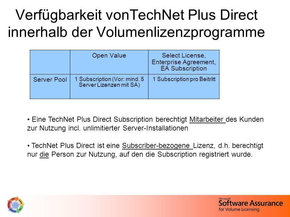 Verfügbarkeit vonTechNet Plus Direct innerhalb der Volumenlizenzprogramme