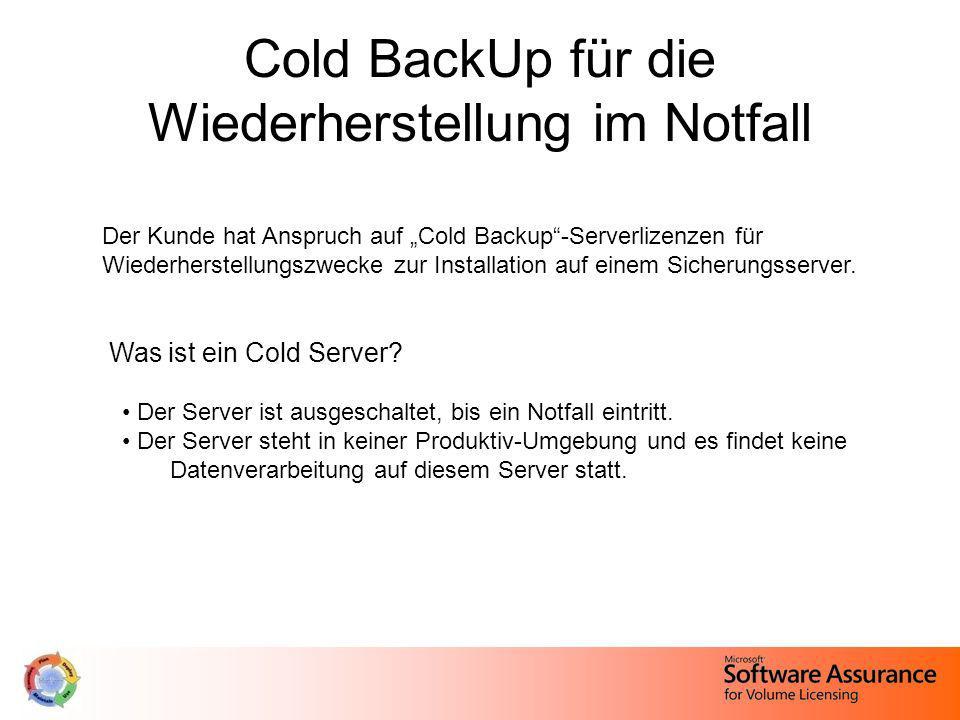 Cold BackUp für die Wiederherstellung im Notfall