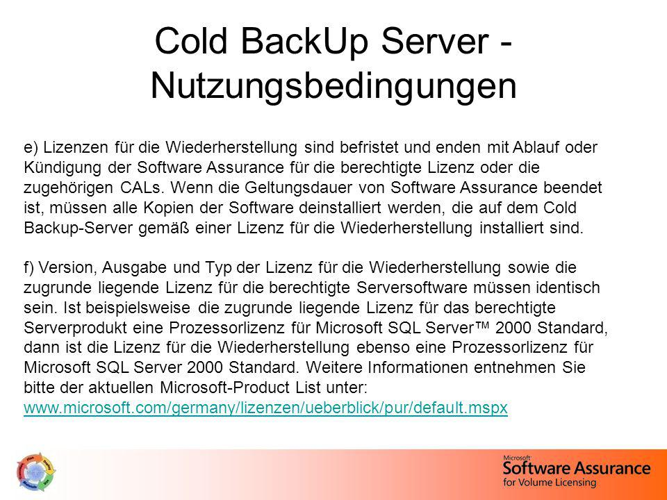 Cold BackUp Server - Nutzungsbedingungen