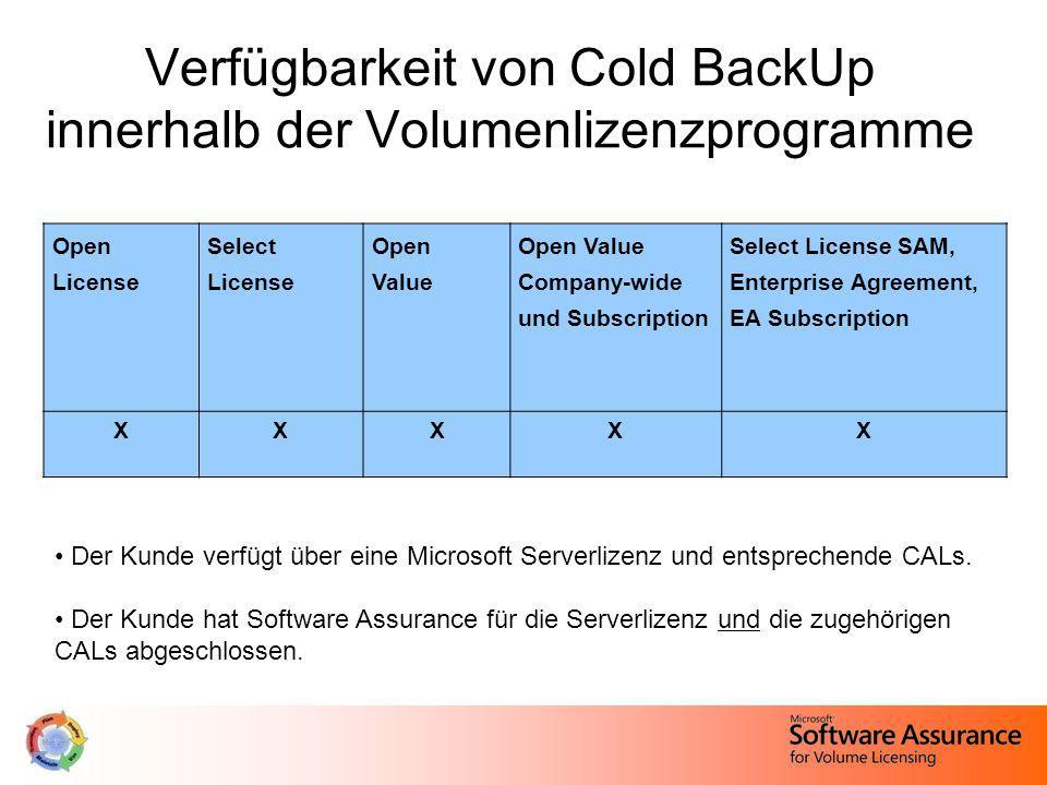 Verfügbarkeit von Cold BackUp innerhalb der Volumenlizenzprogramme
