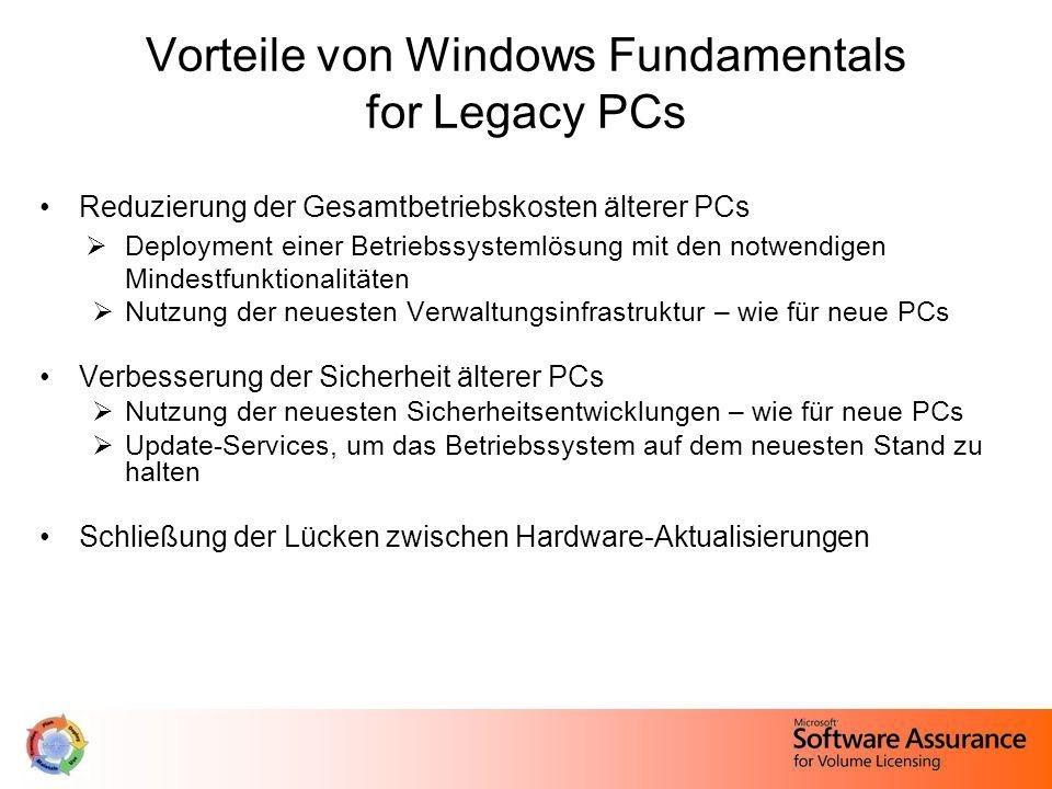 Vorteile von Windows Fundamentals for Legacy PCs