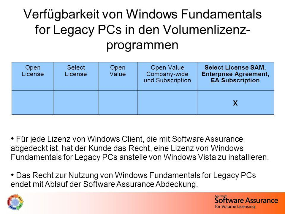 Verfügbarkeit von Windows Fundamentals for Legacy PCs in den Volumenlizenz-programmen