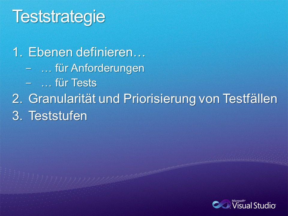 Teststrategie Ebenen definieren…