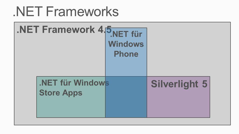 .NET Frameworks .NET Framework 4.5 Silverlight 5