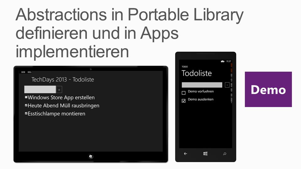 Abstractions in Portable Library definieren und in Apps implementieren