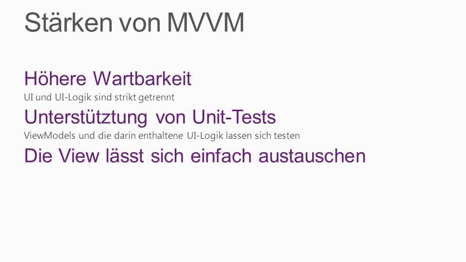 Stärken von MVVM Höhere Wartbarkeit Unterstütztung von Unit-Tests