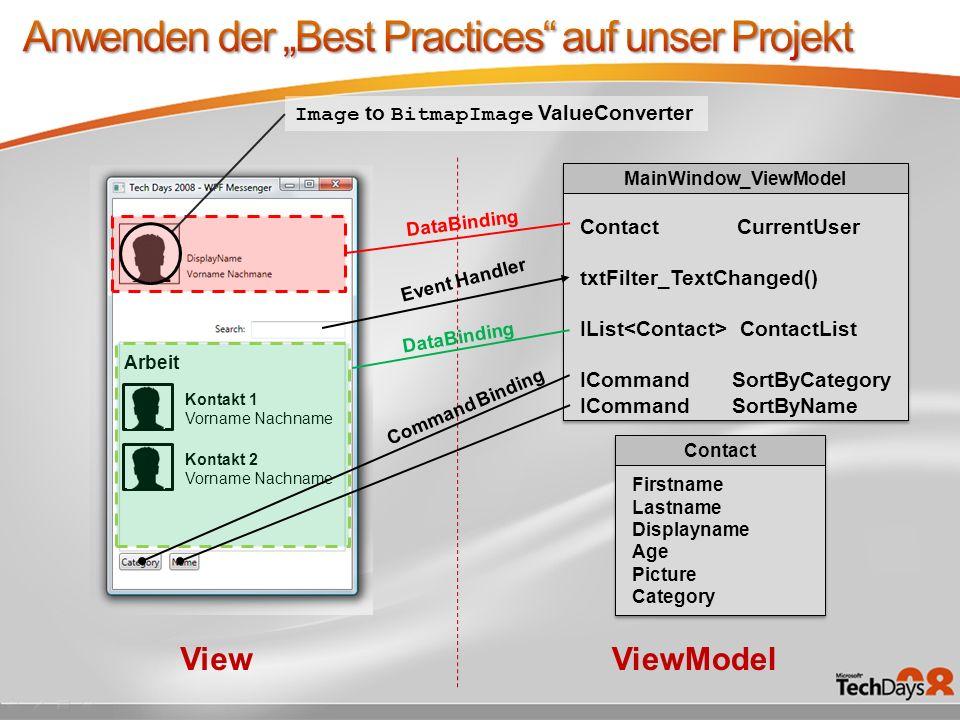 """Anwenden der """"Best Practices auf unser Projekt"""