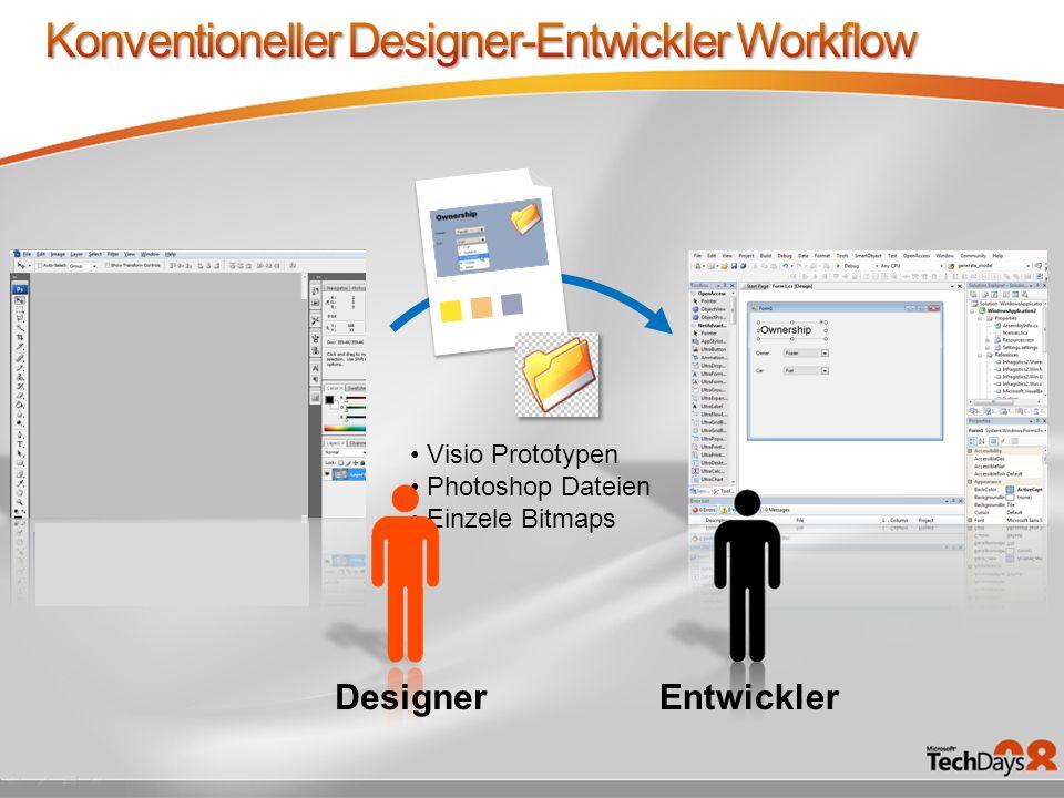 Konventioneller Designer-Entwickler Workflow