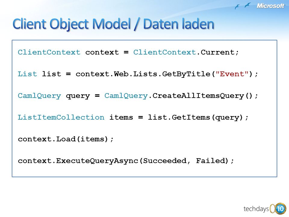 Client Object Model / Daten laden