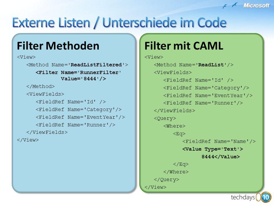 Externe Listen / Unterschiede im Code