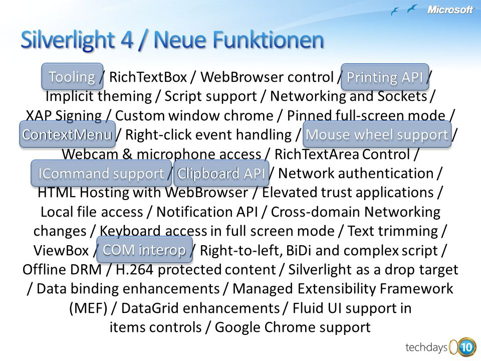 Silverlight 4 / Neue Funktionen