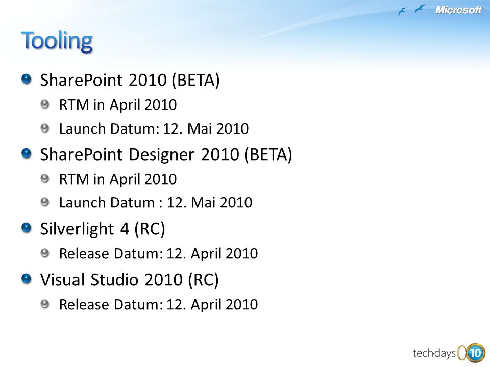 Tooling SharePoint 2010 (BETA) SharePoint Designer 2010 (BETA)