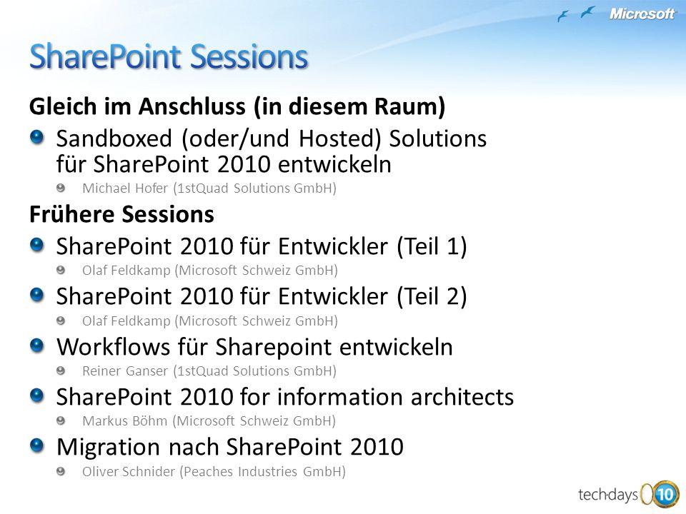 SharePoint Sessions Gleich im Anschluss (in diesem Raum)
