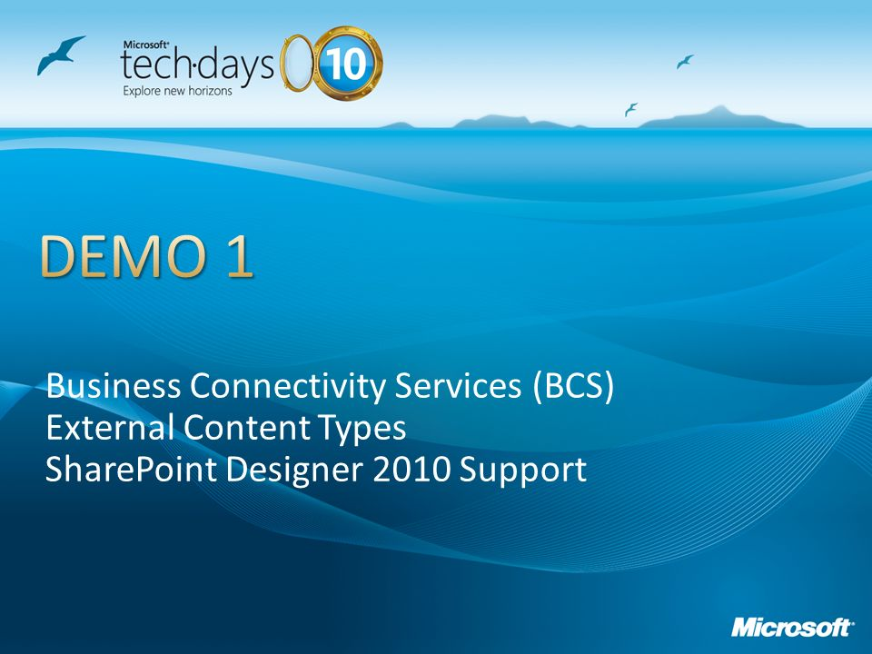 DEMO 1 Business Connectivity Services (BCS) External Content Types