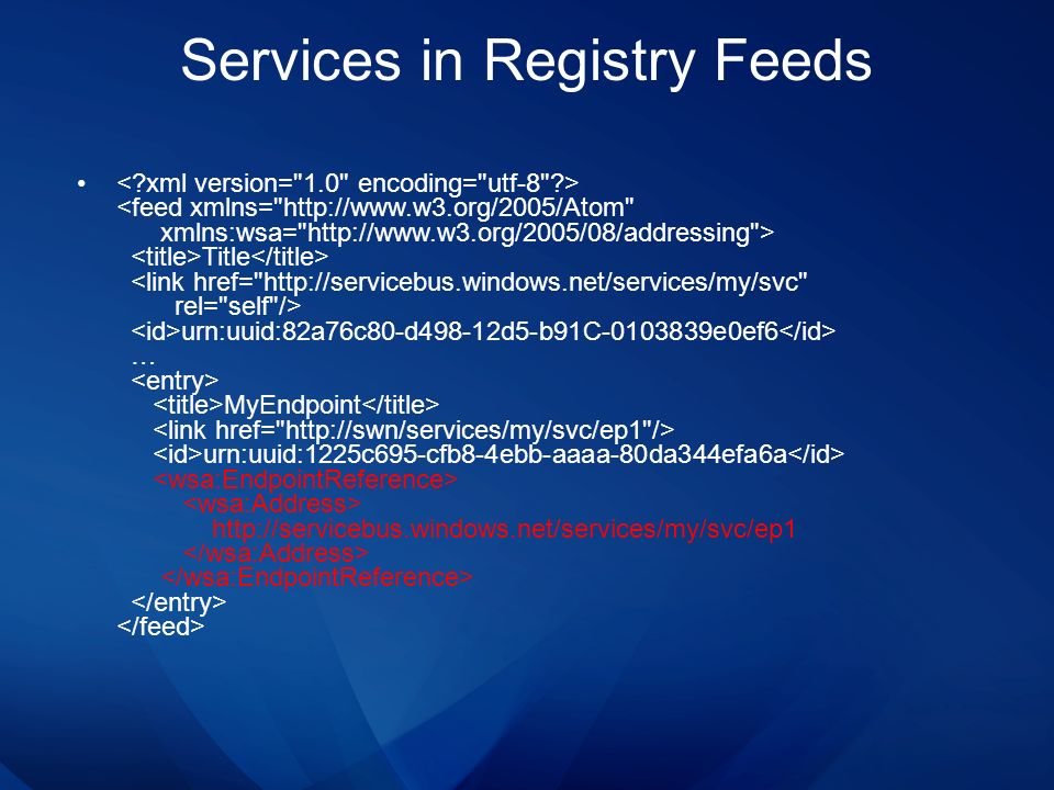Services in Registry Feeds